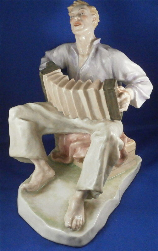 20thC rosanthal Porcellana Fisarmonica Giocatore Figurina Statuina Porzellan