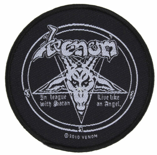 """Woven Sew On Patch 3/"""" Round Venom In League With Satan"""