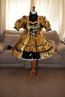 Amazing Gold Pvc Adult Sissy Maids Dress With Gold Apron & Black Trim Size Xxl
