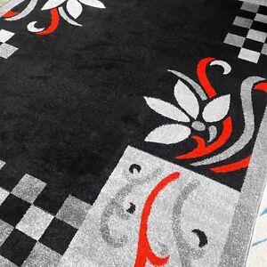 Details About Modern Style Rug 300x400cm 10x13 Leaves Flower Print Lome Black Grey Red