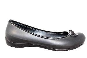 9343c0f13 Image is loading Crocs-Lily-Black-Ballet-Flat-Bow-Slip-On-