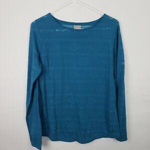 J-Jill-Womens-Top-Size-M-Blue-Long-Sleeve-Shirt-Striped-Geometric-Scoop-Neck