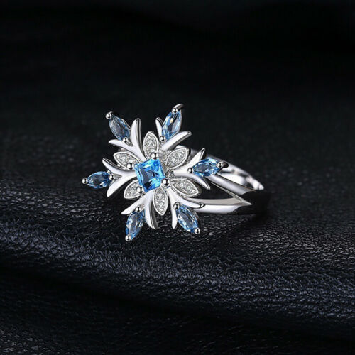 Fashion Femmes Saphir Bleu Pierres Précieuses Opale Anneau Mariage Bridal Jewelry G