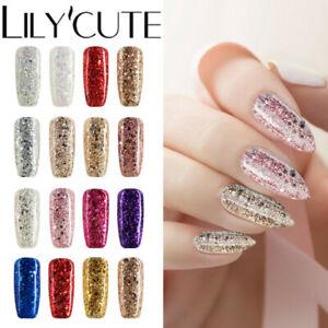 LILYCUTE-7ml-UV-Gel-Nail-Polish-Soak-Off-Base-Top-Coat-Sequins-Glitter-Gel