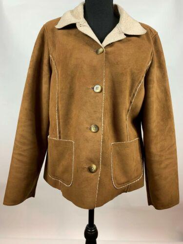 da l Faux Fagiolo chiaro marrone donna cappotto giacca Sherpa Taglia foderato Suede L Shearling M marrone SAaTxaw7