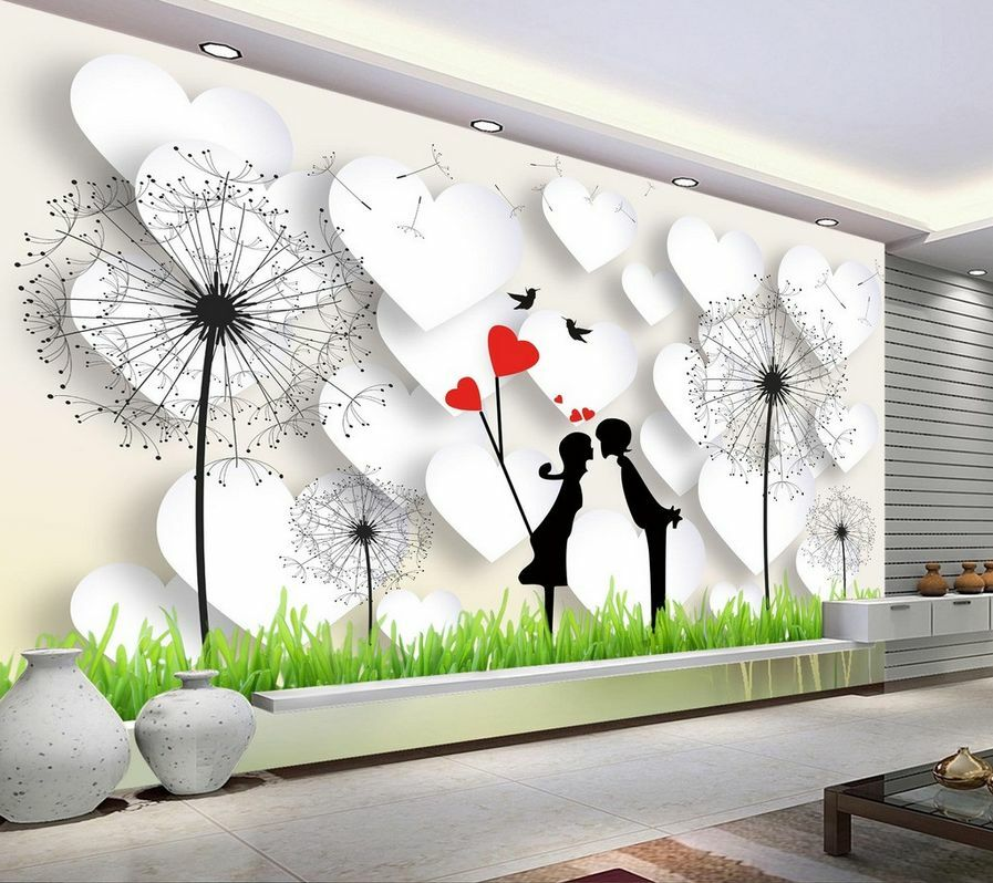 3D Mega Lovers And Heart Shape 644Wall Paper Wall Print Decal Wall AJ Wall Paper