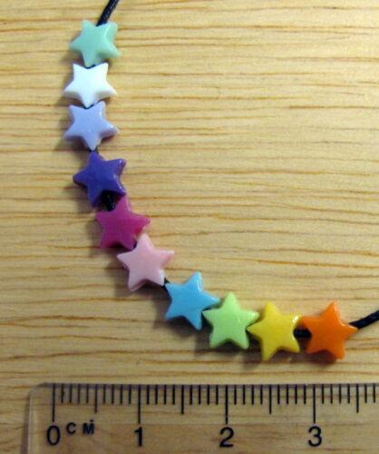 200 Mini Star perles Plastique Acrylique 6mm couleurs vives Coloré Mignon Kitsch