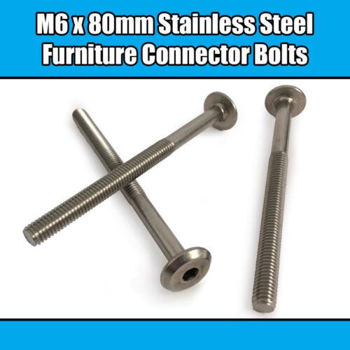 M6 x 80 mm en acier inoxydable meubles Connecteur Boulons Fix lit bébé meuble table bureau