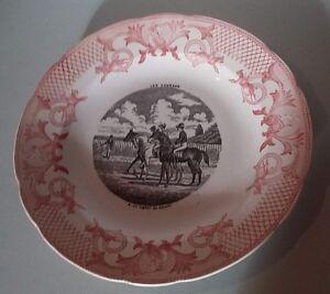 Assiette Parlante Les Courses Pexonne Antique French Majolica Transferware Plate Excellent Effet De Coussin