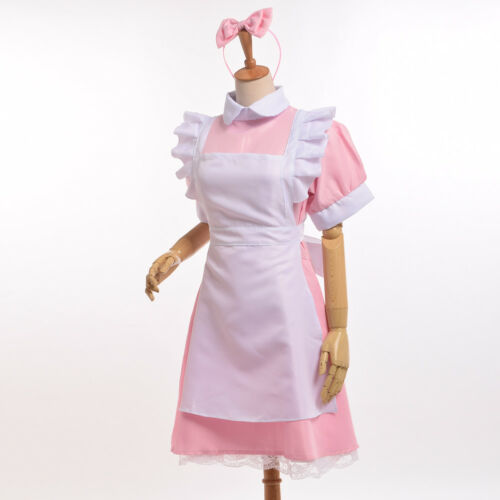 Maid Apron Lolita Waitress Victorian Fancy Pink Dress Party Cosplay Costume