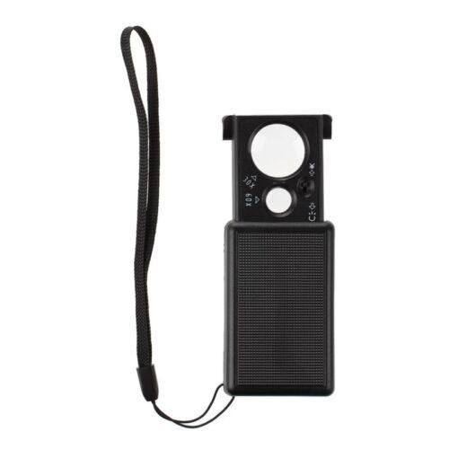 Lupe Taschenlupe Leselupe Vergrößerungsglas Magnifier 60X Schwarz