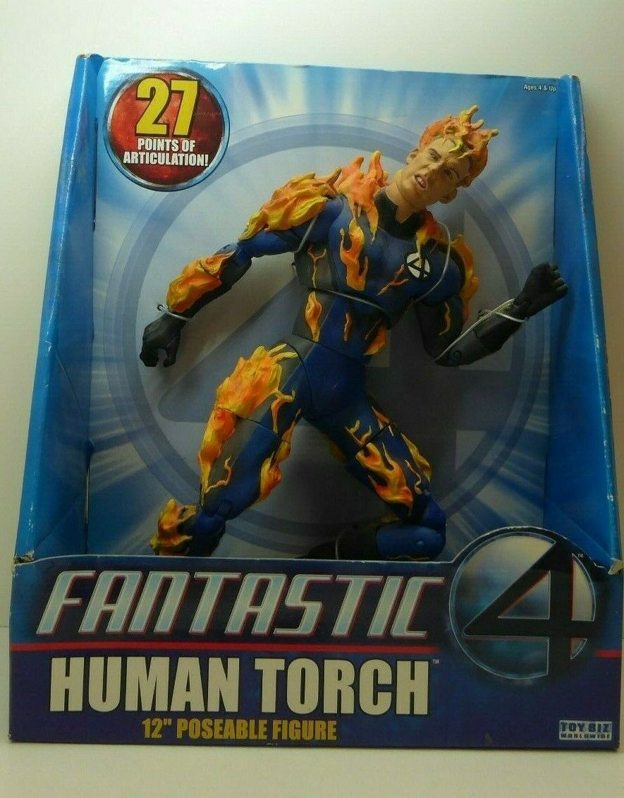 VINTAGE POSEABLE ACTION FIGURE FANTASTIC 4 HUMAN TORCH DOLL  12'' 30 CM IN BOX