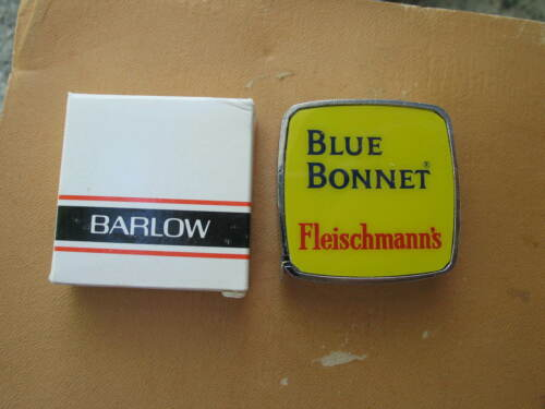 Vintage Blue Bonnet Fleischmann/'s advertising Barlow Tape Measure Pocket w//box