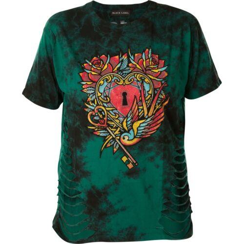 shirt Afflizione Heart donna T Key Grün dYZHvqx
