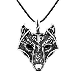 VIKING-FENRIS-Wolf-Kopf-Wikinger-Kelten-LARP-Schmuck-Anhaenger-Halskette-Nordisch
