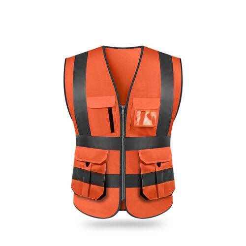 SFVest High Visibility Reflective Safety Vest Pockets Jacket Night Security W6M6