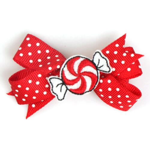 1x Christmas Elk Candy Snowman Hair Clip Hairpin Hair Bow Kid Girl Xmas Gift New