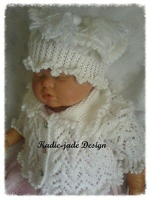 Knitting Pattern #67 (INSTRUCTIONS) Cardigan, Beret, Shoes for 0-3m Baby