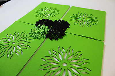 Circle Placemats and Coaster Flames Aster Flower Felt Table Mats Set of 8 Laser Cut