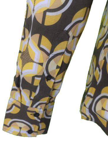 Mens 60s 70s Retro Mod Brown Pop Art Geometric Print Shirt …