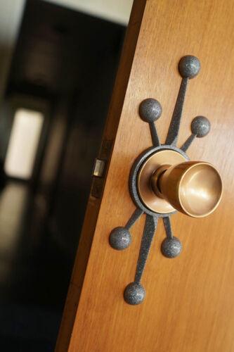 NEW MODERN STARBURST SPUTNIK DOOR ROSETTE ESCUTCHEON DOORKNOB BACKER MID CENTURY