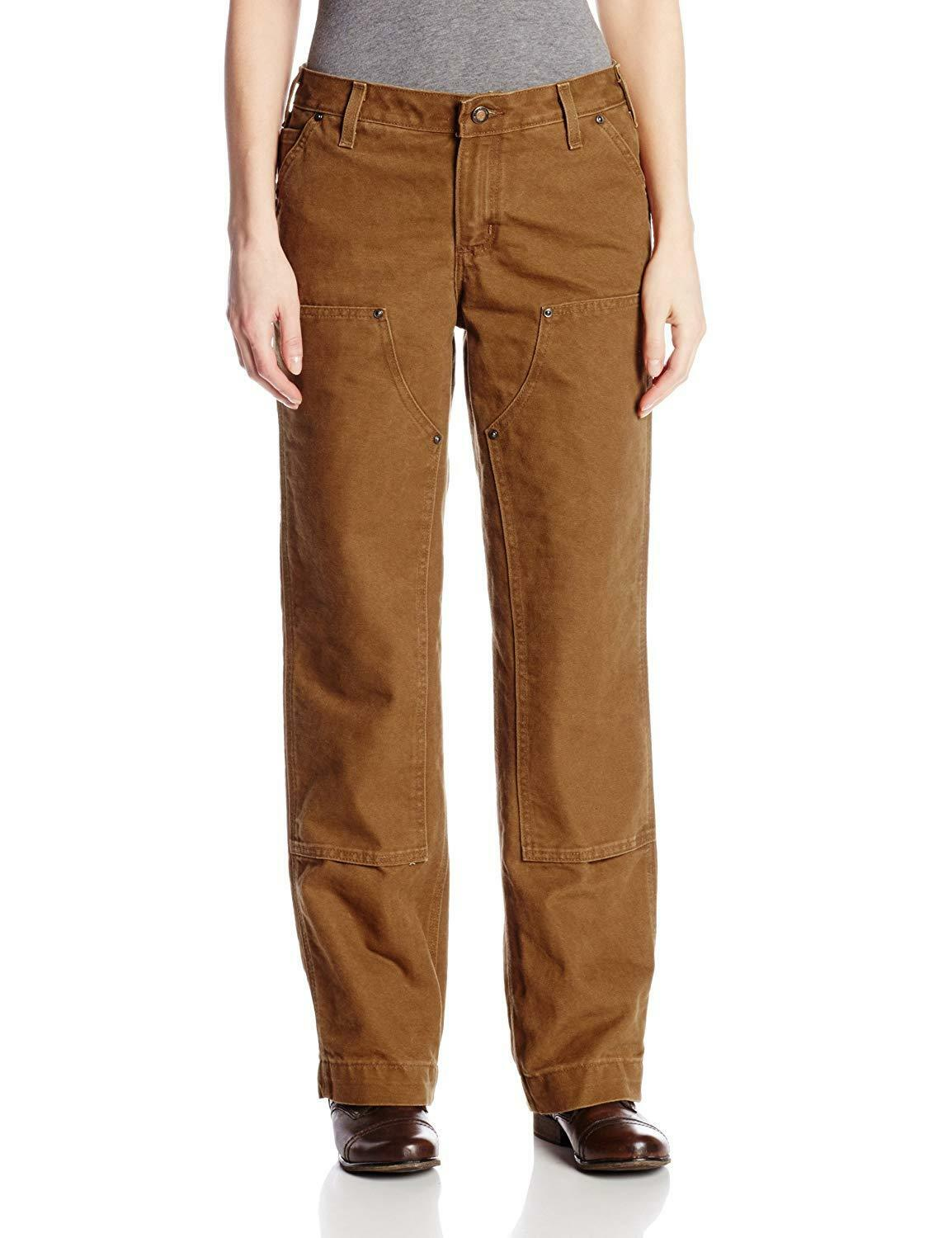 NWT CARHARTT Women's Brown Relaxed Fit Sandstone Kane Dungaree Pants  18