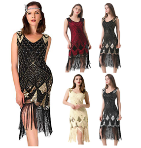 Gatsby-Dresses-Flapper-1920s-Beaded-Great-Party-Vintage-Sequin-Womens-S-Fringed