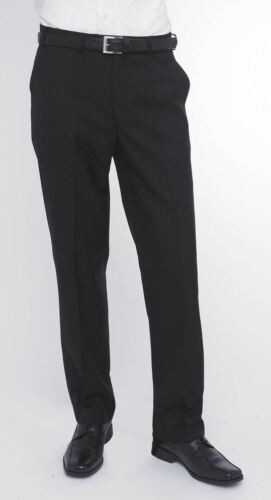 SKOPES WOOL BLEND FLAT FRONT TROUSERS IN BLACK