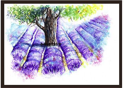 Original art Artcard Frammed Picture Lavender Field Watercolour Print