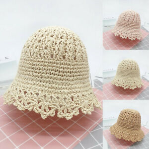 Summer-Infant-Baby-Solid-Kids-Solid-Breathable-Straw-Hat-Bucket-Fisherman-Cap
