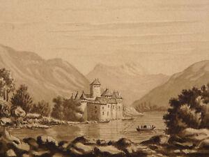 Lavis Original XIXème représentant un paysage de montagnes et Château