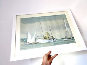 Mid-Century-Nautical-Sailing-Watercolour-Painting-Professionally-Framed