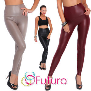 High-Waist-Leggings-Mat-Wet-Look-Latex-Faux-Imitation-Leather-Full-Length-LTPNL