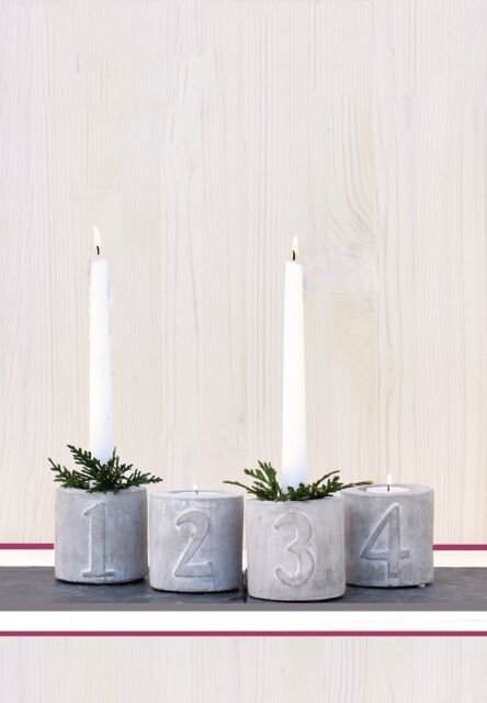 Advent Kerzenhalten aus Beton Adventsleuchter Adventskranz XMAS Teelichthalter