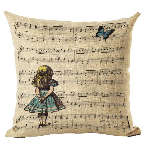 """18/"""" CARICATURE Wonderland Cotton Linen taies d/'oreiller Housse de coussin Home Decor"""