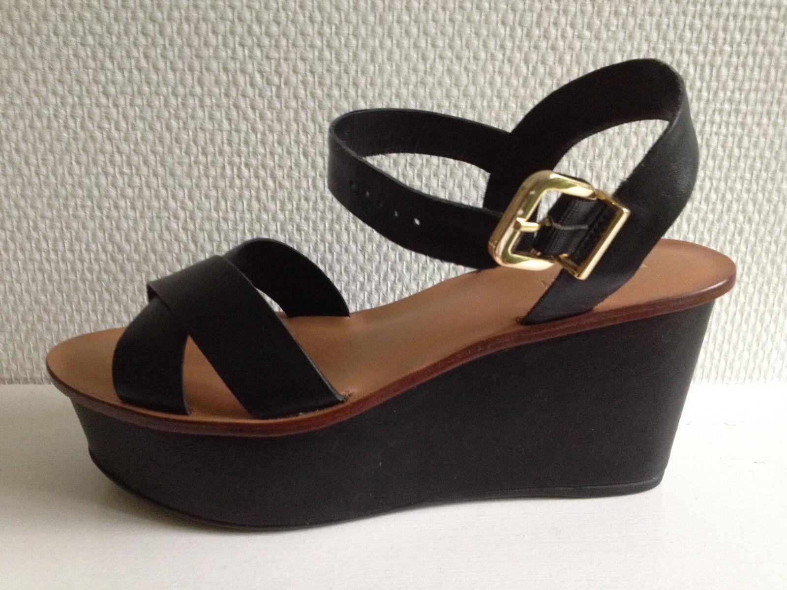 Chaussures en cuir noir   sandales   nu-pieds - MINELLI - pointure 39 - neuves