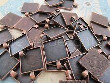 "10 Qty - 1"" Square Pendant Trays - Antique Copper Color - Crafts 25mm 1 inch"
