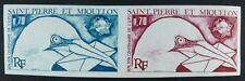 ST. PIERRE & MIQUELON SPM 1974 UPU Vogel Farbprobe im Paar Ungezähnt 496 ** MNH