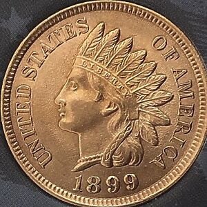 1899-INDIAN-HEAD-PENNY-4-SHARP-DIAMONDS-BEAUTIFUL-COIN-Cleaned
