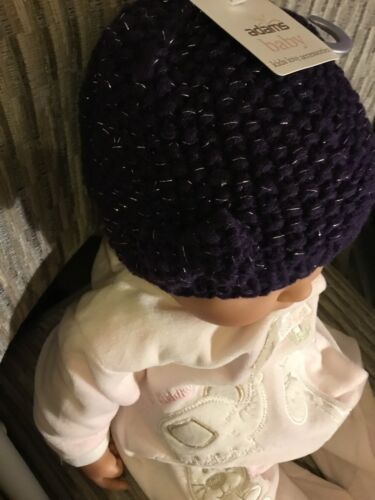 Baby Girls Knitted Winter Hat Bow Purple /& Silver 0-3 to 12-24 M Ex-chain Store