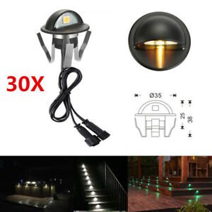 Details About 30pcs Set 35mm 12v Led Deck Step Fence Lights Outdoor Yard Stair Path Lamp Ip65