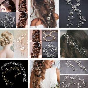 New-Pearl-Wedding-Hair-Vine-Crystal-Bridal-Accessories-Diamante-Headbands