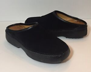 BLACK SUEDE CLOGS SLIP-ON MULES SHOES