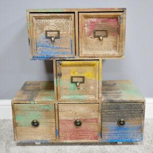 6-petits-tiroirs-multicolore-Cabinet-autonome-a-effet-vieilli-Boite-de-Rangement-Unite