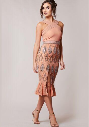 Virgos Lounge Dasha Flute Flare Hem Embellished Party Cocktail Prom Dress  6 34