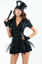 Sexy Cop Ladies Black Police Fancy Mini Dress Costume Outfit UK 8-12 - 3 Pieces