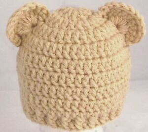 BOYS HAND CROCHETED HAT CHUNKY TEDDY BEAR ears owl ears tan beanie ... f53bc7c0cd7e