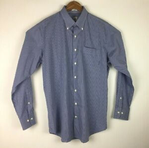 Peter-Millar-Size-Large-Button-Front-Crown-Finish-Blue-White-Plaid-Check-Shirt
