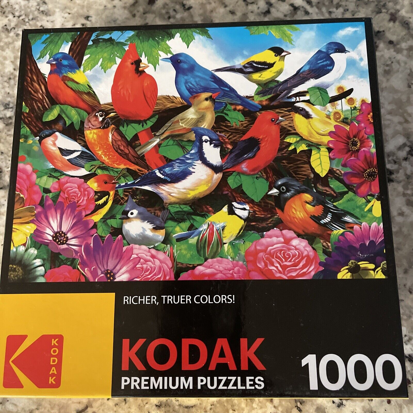 The Aviary of Birds /& Blooms 750 Piece Jigsaw Panoramic Puzzle Kodak Premium 37 Inch Extra Wide Puzzle