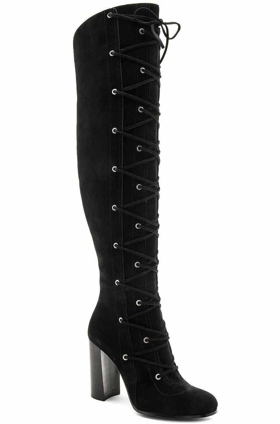 Vince Camuto Thanta Lace Up Tall Boots Black Over The Knee sz 8.5 new